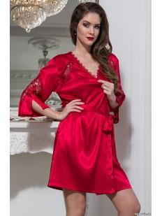 Женский атласный красный халат на лето