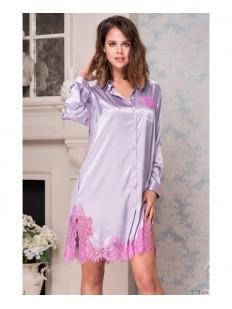 Женская шелковая лавандовая ночная рубашка Mia-Amore Bella