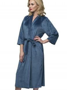Длинный домашний женский синий халат с карманами