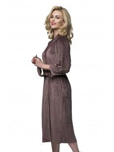Длинный домашний коричневый женский халат с карманами