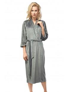 Длинный домашний серый халат с карманами