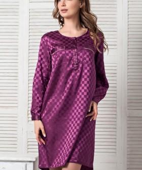 Женская атласная ночная сорочка фиолетовая с длинными рукавами