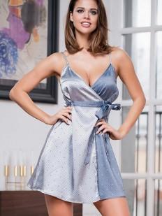 Серебристая атласная ночная сорочка платье Mia-Amore Eliza