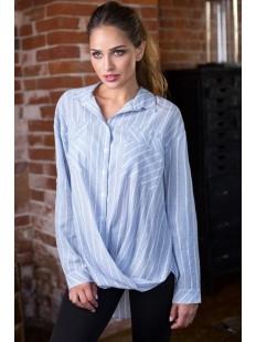 Женская хлопковая ночная рубашка в полоску голубая