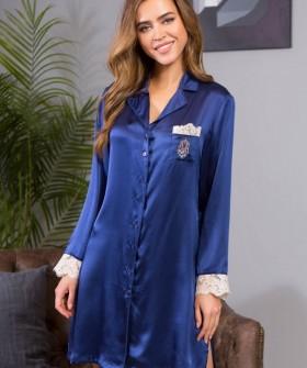 Женская шелковая ночная сорочка рубашка с длинным рукавом