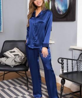 Шелковая синяя женская пижама с брюками Mia-Mia Kristy