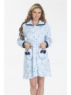 Женский хлопковый домашний халат на пуговицах с бантиками