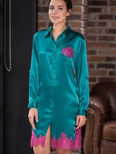 Женская изумрудная шелковая ночная рубашка с кружевной отделкой Mia-Amore Bella