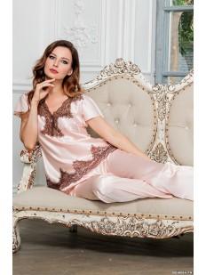 Брючная женская пижама с кружевом Mia-Amore Marilin шёлковая