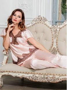 Брючная шелковая женская пижама с кружевом