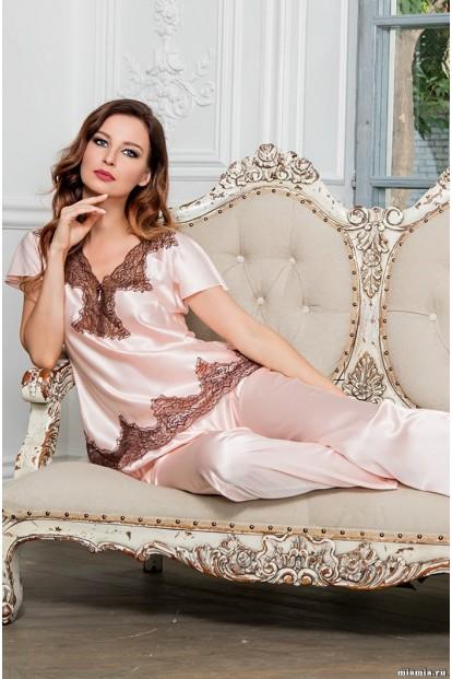 Шелковая женская кружевная пижама с брюками Mia-Amore Marilin 3106 - фото 1