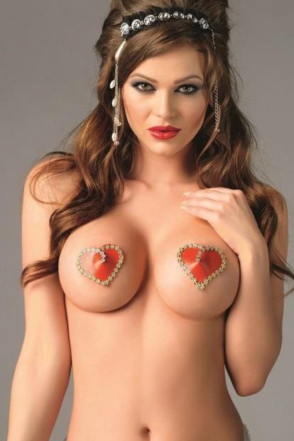 Красные наклейки на соски в форме сердца Me Seduce NC016 - фото 1