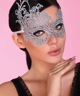 Изящная женская серебристая маска со стразами
