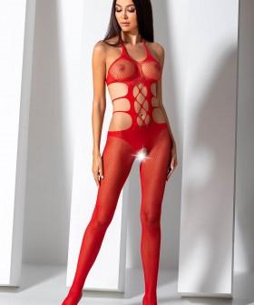 Красный бодикомбинезон с открытой спинкой и крупной сеткой