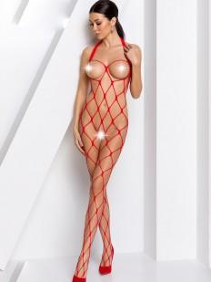 Красный открытый бодикомбинезон в крупную сетку
