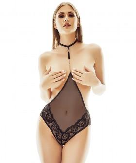 Черное сексуальное боди с открытой грудью и чокером