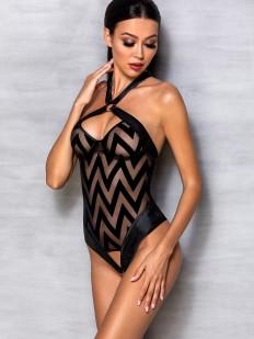 Черное эротическое боди с геометрическим рисунком