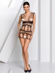 Корткое черное эротическое платье с плетением в сетку