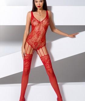 Красный кружевной эротический комбинезон с имитацией чулок