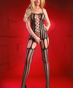 Черный бодикомбинезон с имитацией чулок на подвязках