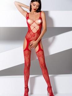 Красный сексуальный комбинезон с открытой грудью и кружевным декором
