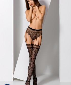 Чулки с поясом Passion S 003 Black Erotic Line