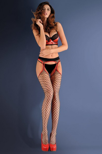 Фантазийные чулки с поясом в широкую сетку Gabriella 637 Strip Panty 153 - фото 1