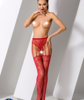 Чулки с поясом Passion Erotic Line S 016 Red