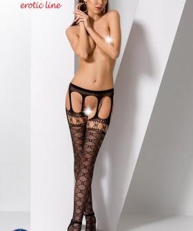 Эротические черные чулки с поясом и корсетным рисунком