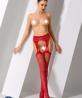 Чулки с поясом Passion Erotic Line S 020 Red
