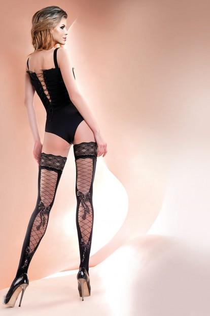 Фантазийные кружевные чулки с имитацией шнуровки Gabriella 246 Carla - фото 1