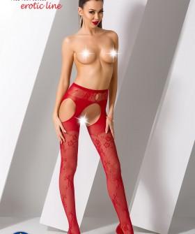 Эротические красные чулки с поясом и цветочным узором