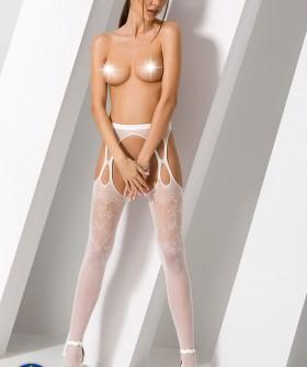 Чулки с поясом Passion S 002 White Erotic Line