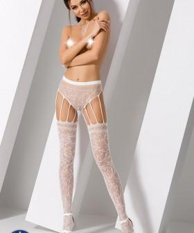 Чулки с поясом Passion S 003 White Erotic Line