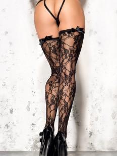 Черные эротические кружевные чулки под пояс с бантиками