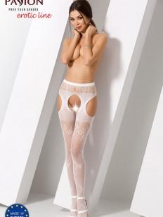 Эротические белые чулки с поясом и цветочным узором