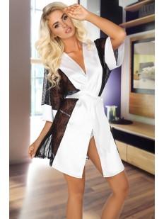 Атласный женский белый кружевной халат