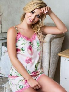 Женская летняя атласная пижама с шортами цветочная