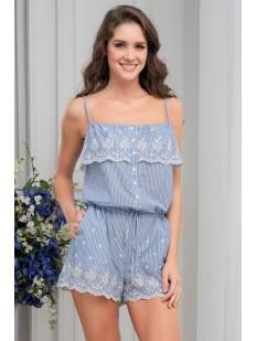 Женская летняя хлопковая пижама комбидресс на тонких бретелях Mia-Amore Nizza
