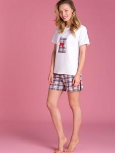 Женская хлопковая летняя пижама с шортами в клетку