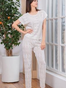 Хлопковая женская пижама со свободными брюками и топом