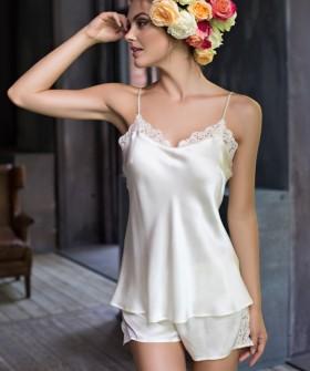 Летняя женская пижама из шелка цвета шампань