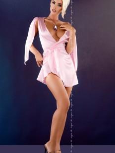 Короткий розовый атласный пеньюар