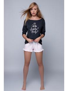 Хлопковая женская пижама с надписью и шортами с рюшами