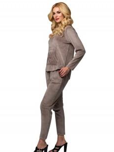 Бежевый велюровый спортивный женский костюм для дома