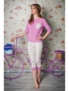 Женская яркая хлопковая пижама с бриджами