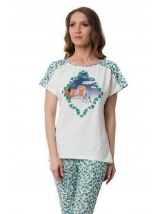 Хлопковая женская пижама с футболкой и бриджами
