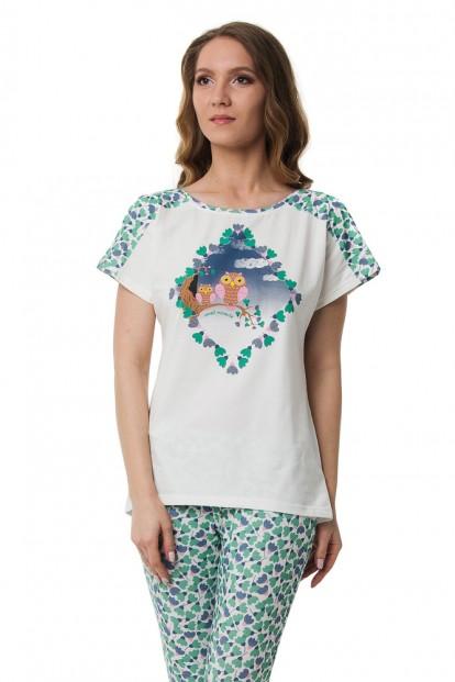 Хлопковая женская пижама с футболкой и бриджами Dreamwood Evelena 1140 - фото 1