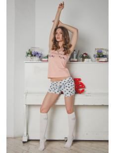 Хлопковая женская летняя пижама с шортами и футболкой