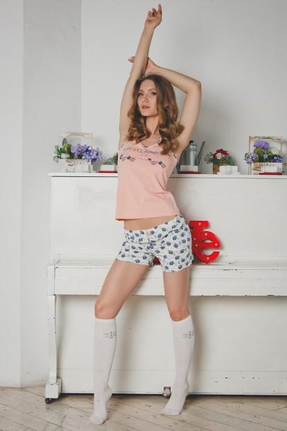 Хлопковая женская летняя пижама с шортами и персиковой футболкой Blackberry Evelena 1021 - фото 1